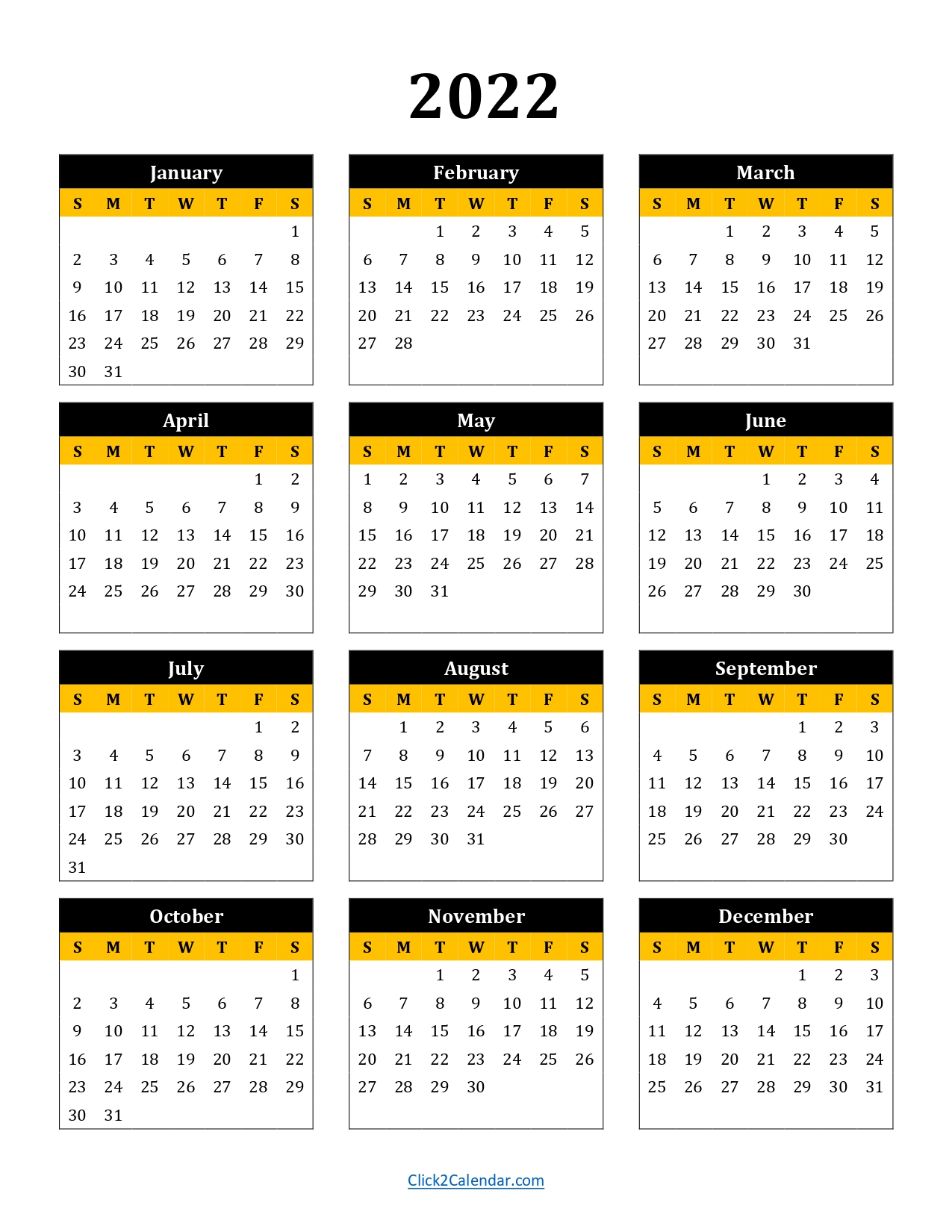 2022 Calendar One Page Black and Yellow Portrait