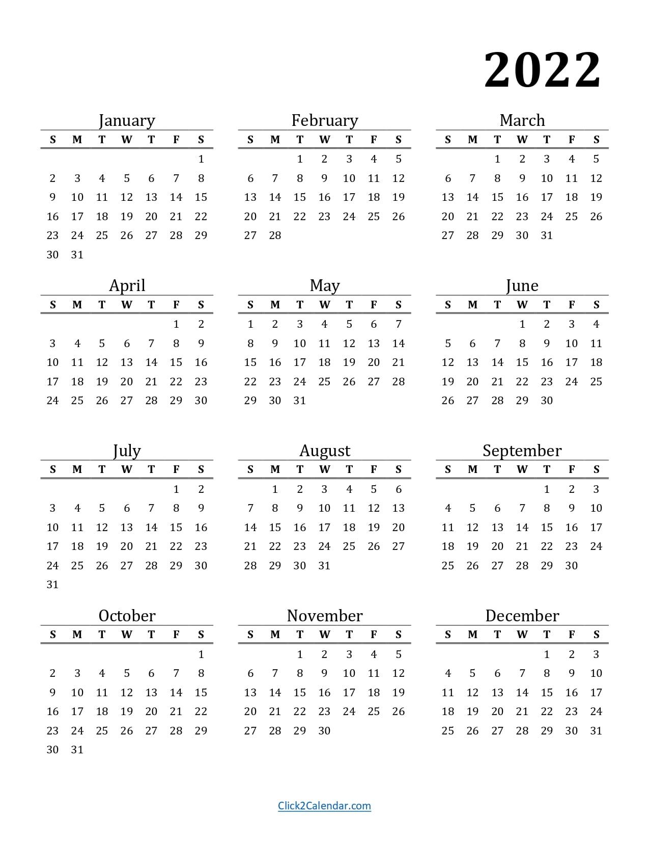 2022 Calendar Printable Classic Portrait