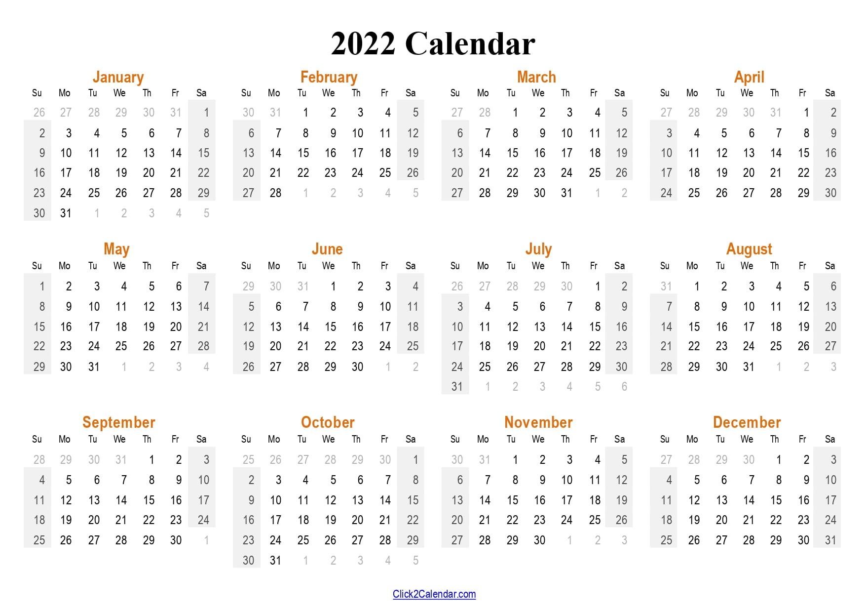 2022 Calendar Single Page PDF