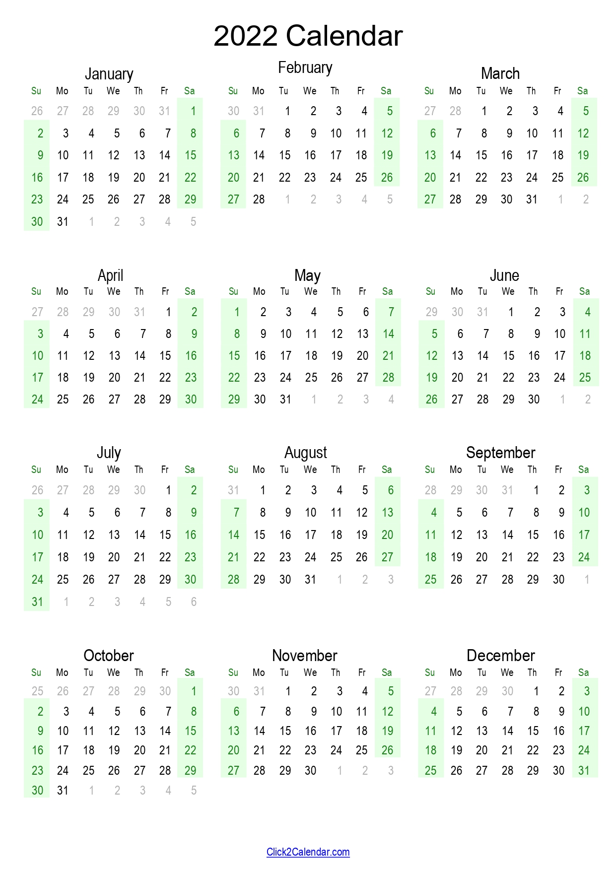2022 Calendar Yearly One Page