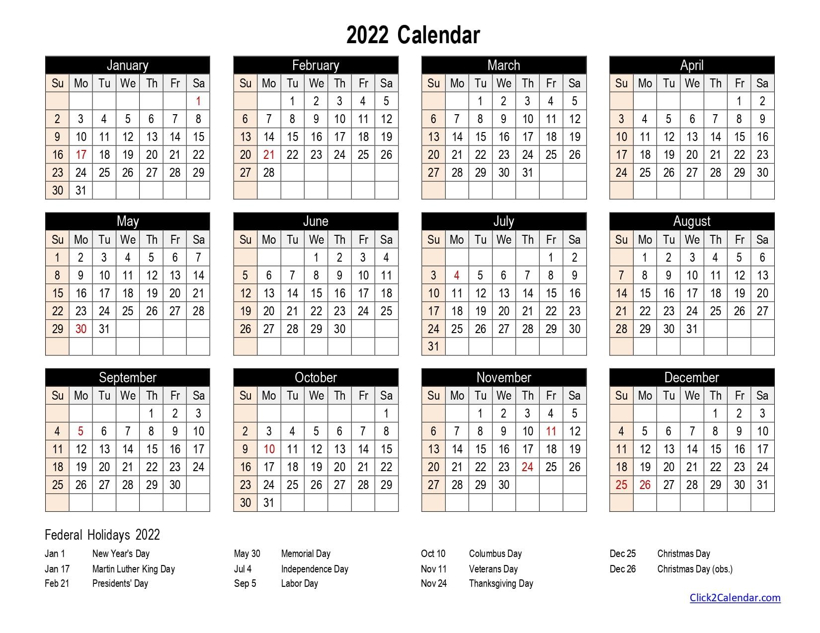 2022 Calendar one page Black