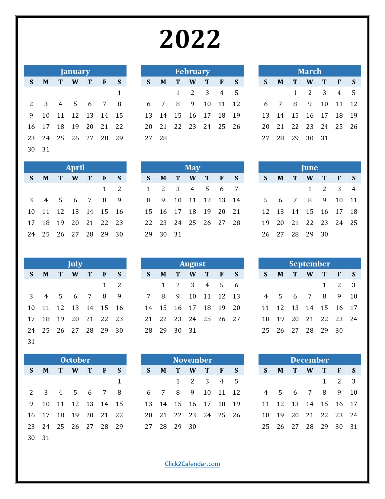2022 Yearly Calendar Blue with Border Portrait