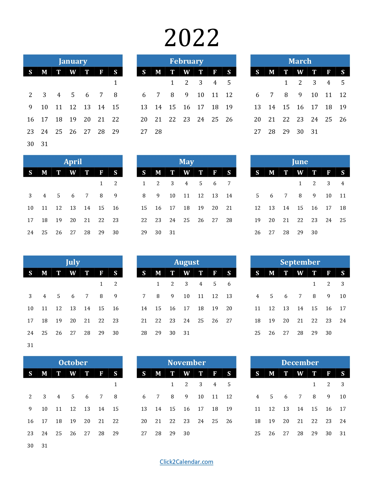 2022 Yearly Calendar One Page Blue Portrait