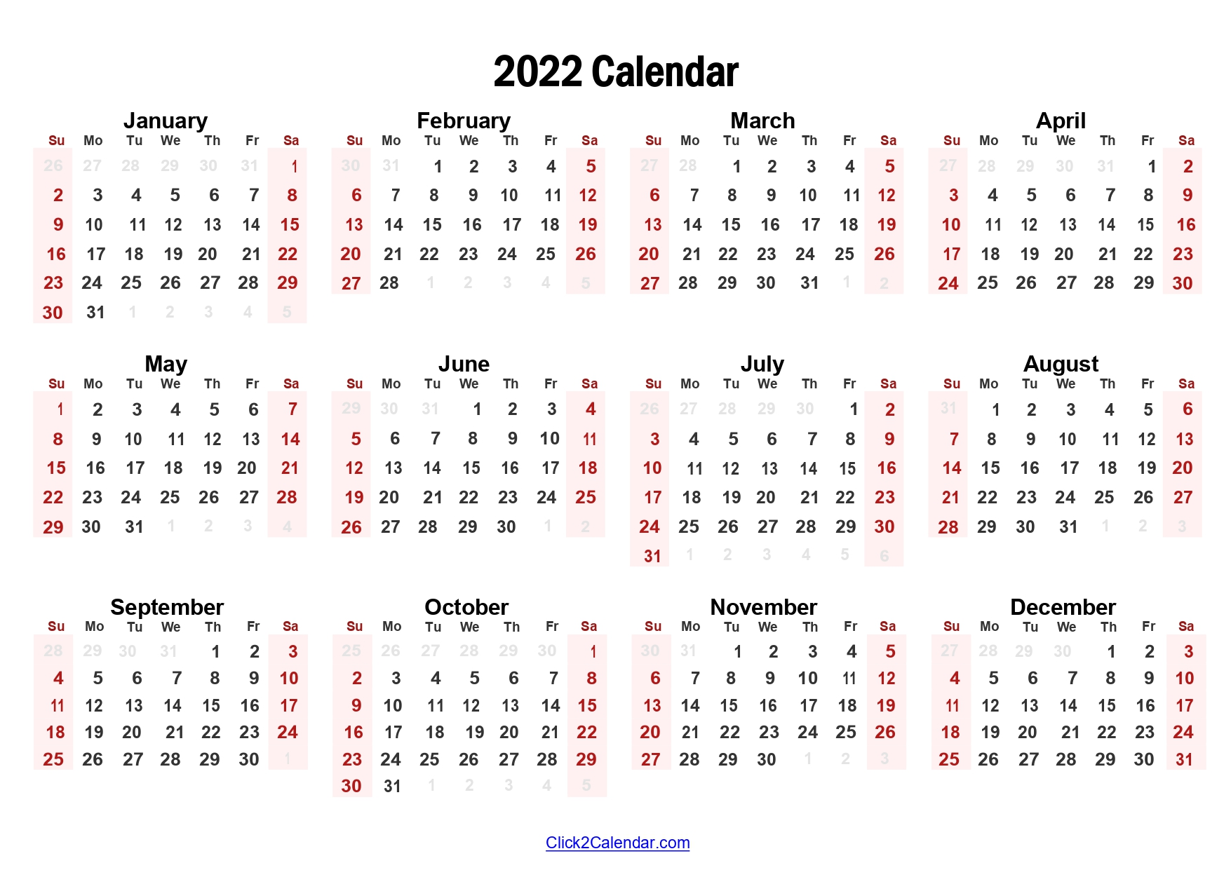 2022 Yearly Calendar Ready to Print