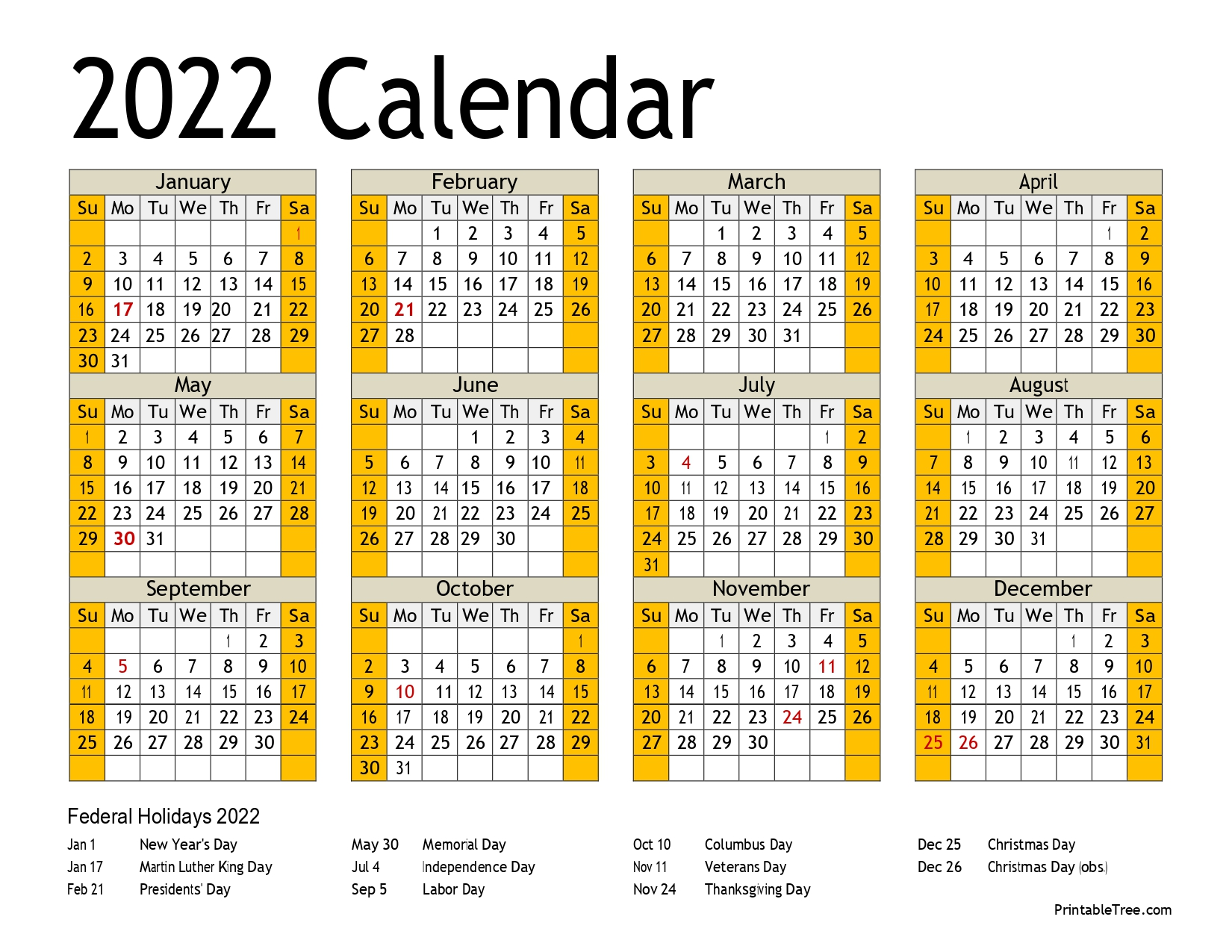 2022 Yearly Calendar Single page with holidays
