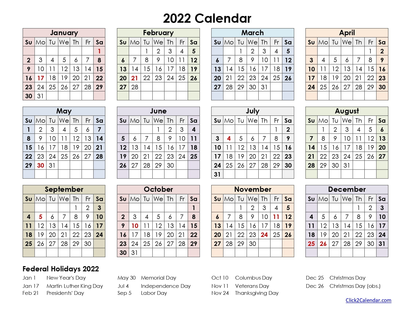 2022 Calendar one page Colorful