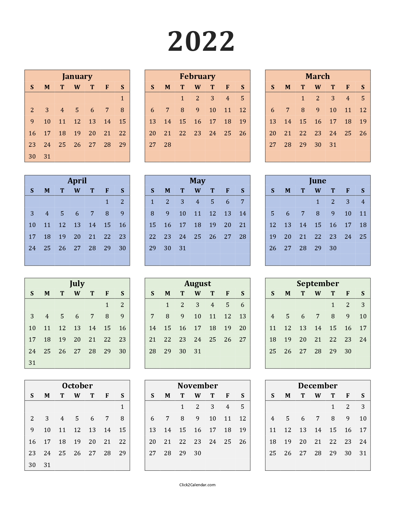 Yearly Calendar 2022 One Page Colored Portrait