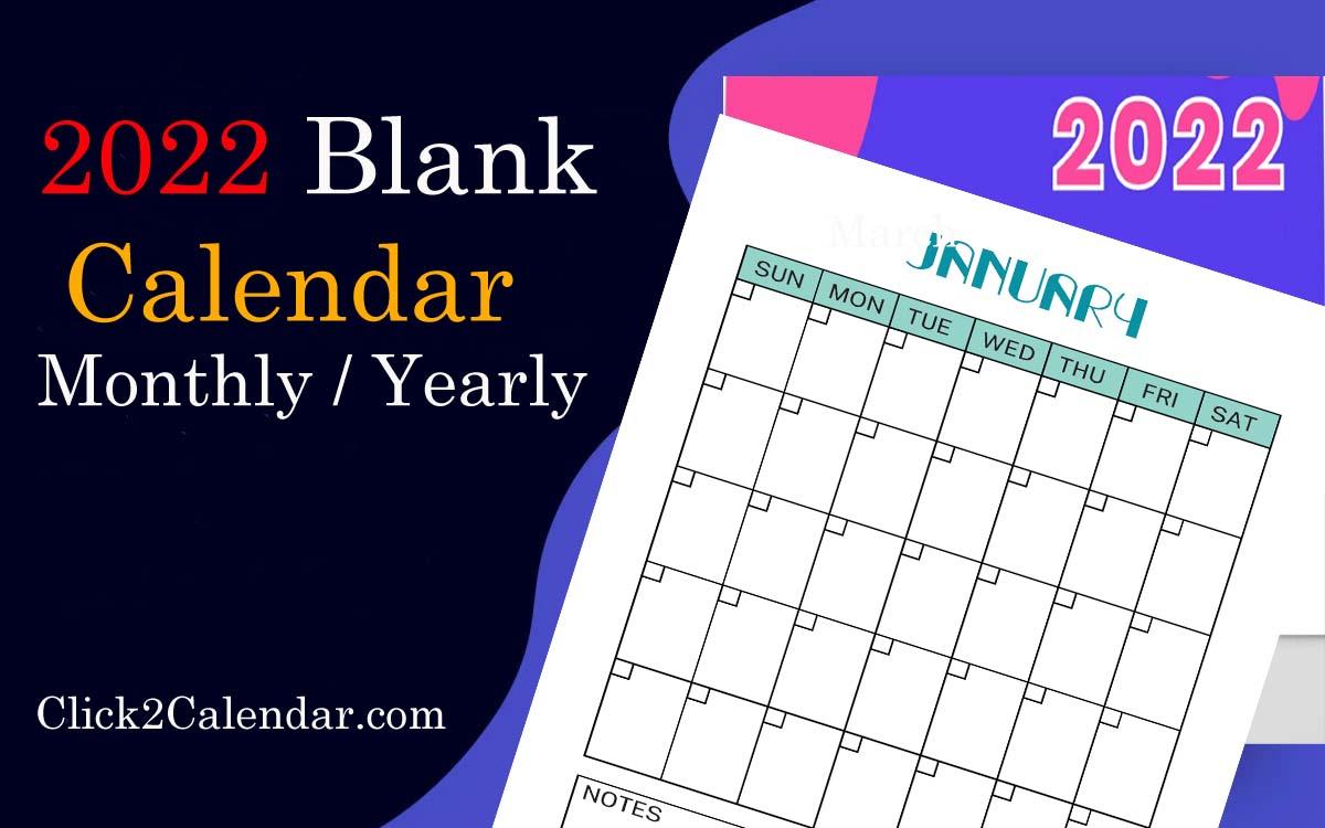 blank calendar 2022 templates